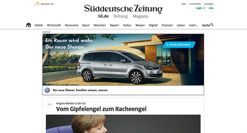 """""""Süddeutsche"""" mit Werbung"""
