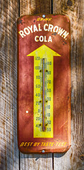Royal Crown Barn Thermometer (Carolyn Marshall Photography) Tags: wood red orange brown signs hot abandoned sign yellow barn rural vintage tampa fun florida antique decay country rustic beverage barns retro drinks rusted signage rusting temperature thermometer beverages rc decayed royalcrowncola rccola royalcrown colas carolynmarshall livinglifephotography