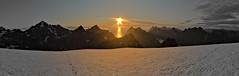 Sunset on Munkebu (-_MCS_-) Tags: sunset sea summer panorama sun white snow black mountains norway symmetry midnight lofoten munken munkebu