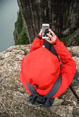 Preikestolen, Norway (Karol Majewski) Tags: cliff water girl norway trekking landscape stavanger hiking edge fjord scandinavia woda preikestolen rogaland lysefjord pulpitrock dziewczyna ryfylke krajobraz norwegia urwisko skandynawia przepaść krawędź