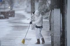 Snowing at Salgótarján, small city in East-Hungary (euronews) Tags: dolgozik havas havazás hétköznapi hóesés idõjárás járda nõ személy takarít salgótarján nógrádmegye magyarország hun időjárás nő