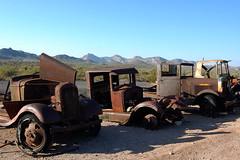 Junked (~ Lone Wadi ~) Tags: goldfieldarizona mammothmine vehicles cars trucks abandoned abandonment rusted rusty decrepit decaying americansouthwest mountains sonorandesert