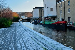 Blowing the cobwebs off. (padge83) Tags: nikon d5300 leedsliverpool canal barges water snow cold westyorkshire shipley