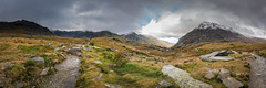 Llyn Idwal Panorama (Howie Mudge LRPS) Tags: llynidwal llynogwen pano panorama panoramic landscape nature photography ngc outside outdoors travel travelling traveler hills mountains sky clouds rocks grass bracken moody grim overcast snow snowdonianationalpark gwynedd wales cymru uk boulders panasonicdmcgx80 microfourthirds mft m43 compactsystemcamera mirrorlesscamera lumixgvario714f40