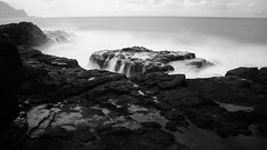 Misty Ocean (steveboer.com) Tags: rock ocean waves water bw blackandwhite longexposure queensbath princeville hawaii kauai landscape