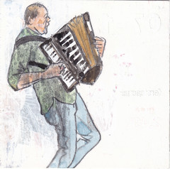 # 014 (2017-01-14) (h e r m a n) Tags: herman illustratie tekening 10x10cm tegeltje drawing illustration karton carton cardboard muziek music musica muzika ongeregeld trekharmonica trekzak melodeon diatonic buttonaccordion accordeon martinvanbruggen martinb rotterdam