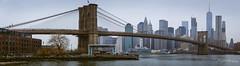 Brooklyn Bridge (ProPeak Photography) Tags: 70pinestreet architecture blue bridge brooklyn brooklynbridge dumbo eastriver flag green janescarousel manhattan newyork newyorkcity oneworldtrade panorama people red skyline thetrumpbuilding water winter