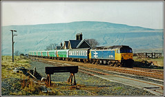 47454, Ribblehead (Jason 87030) Tags: duff spoon britishrail scan print 1990 march settlecarlisle line station ribblehead stop break pilkington stock carriages coach coaching locomotive engine largelogo scene canon history past view vista buffers tracks cheshirerailtour charter