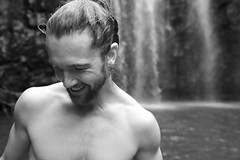 Happiness (lisadurot) Tags: australia waterfall portrait blackandwhite monochrome travel travellers nature paradise hapiness