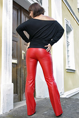 Dominyka 21 (The Booted Cat) Tags: red sexy girl leather model shiny pants tight