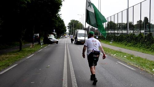 Last walker! Last kilometers. Vierdaagse 2015 finish Via Gladiola