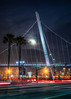 Blue Moon over Harbor Drive (Justin in SD) Tags: street city bridge moon night canon dark harbor downtown sandiego trolley palm fullmoon palmtree late canon5d lightrail hdr bluemoon pedestrianbridge harbordrive downtownsandiego canon5dmarkiii 5d3 sandiegotrolly 5dmark3