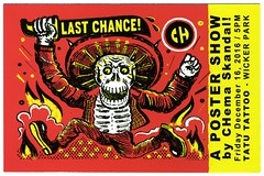 """""""Last Chance!"""" a poster show by CHema Skandal! December 16, 2016 at Tatu Tattoo, Chicago (fotoflow / Oscar Arriola) Tags: chema skandal art artist drawing illustration flier flyer postcard last chance show exhibition opening gallery tatu tattoo shop parlor wicker park december 2016 mexican chicago il illinois midwest us usa united states america american"""