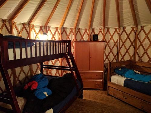 Yurt interior, Riverside Resort, Whistler