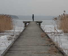 Icy seascape (fredrik.gattan) Tags: jetty leading lines person woman girl lady nature winter cold ice icy seascape landscape islands täby hägernäs strand stockholm sweden