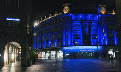 Play me the Strasbourg Blues (lunaryuna) Tags: france lalsace strasbourg urban city architecture urbanconstructs walkinthecity building shoppingtemple citynightssobright cityblues citylightssobright nightlight nightphotography nocturnalphotography lunaryuna