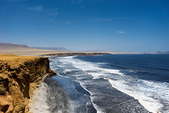 The Ocean and the Desert (chuanet) Tags: sonya7 canon1740mmf4l landscape sea water sky blue peru availablelight outdoor paracas pisco ica sunny clift desert pacific ocean viltroxefnexii ngc