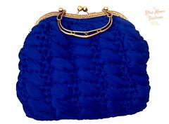 Royal blue crocheted handmade handbag (bluemoonuniquefashion) Tags: blue crochet crocheted handmade handbag golden gold frame clutch cluthes purse