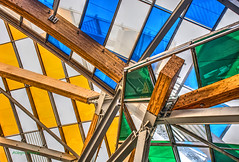 Vuitton Foundation detail-1 (albyn.davis) Tags: architecture architecturalabstract colors colorful bright vivid vibrant blue yellow green structure building paris france city urban geometry vuitton interior museum gehry