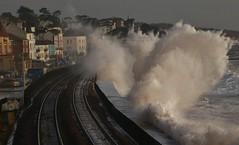 Dawlish storm 6 (matt.clark25) Tags: storm sea seas dawlish devon winter foam spray gale weather hazard transport train railway track mainline sunlit tide marine