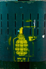 20 (strtrt) Tags: street urban streetart art yellow stencil weapon grenade stencilart
