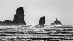 Today was gonna be the day (rowjimmy76) Tags: bw lighthouse white black nature oregon canon landscape rocks waves outdoor hiking pacificocean coastal shore pacificnorthwest crescentbeach geology pnw sl1 ecolastatepark sigma18250mmf3563dcmacrooshsm