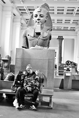 Trip to the British Museum (The Monkey Factory) Tags: blackandwhite sculpture london museum couple candid egypt pharaoh british britishmuseum