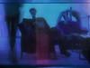 """Reminiscence of  the Cellar of Dogs` Tower: 3) ... when suddenly legs appeared in the mirroring surface of the bar - set designer`s assistent: """"I walked into your photo - sorry"""" I.: """"au contraire!...."""" - Beine, eine Regenmaschine im Spiegel in the mirror (hedbavny) Tags: vienna wien camera pink blue shadow wallpaper woman distortion selfportrait blur reflection art water female bar work austria mirror österreich blurry waiting wasser theater break theatre rehearsal sleep spiegel kunst probe leg rad dream indigo bein rosa jeans müde tired rest buffet pause blau frau job tapete arbeit schatten spiegelung impression schwarz regen kamera tropfen profession handwerk selfie schlaf warten selbstporträt traum handwerker büffet souffleur fermate souffleuse prompter geräusch überlegungen morgestimmung hedbavny ingridhedbavny regenmaschine"""
