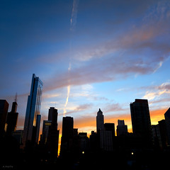 Skyline Drama (Andy Marfia) Tags: sunset sky chicago skyline clouds loop searstower f8 squarecrop iso125 150sec d7100 1685mm maggiedaleypark