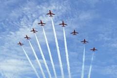 RAF Red Arrows (Gareth Can't Fly) Tags: red plane flying team force display hawk aircraft aviation air jets flight jet royal planes arrows redarrows raf t1 aerobatic aerobatics royalairforce