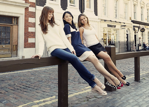 Hannah Grennell, Mariko Saski and Isabella Gasparini of The Royal Ballet wearing shoes from Cocorose London's exclusive Royal Ballet Collection of foldable ballet pumps