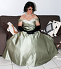 Green Satin Gown (Christine Fantasy) Tags: makeup christine gloves transvestite bouffant gown satin transsexual