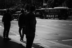 The World Is What You Make It (Vincent Albanese) Tags: street winter people woman man bus fuji bright sydney inspired july sunny australia fujifilm contemplate slogan beginner lightroom xt1 mirrorless elephantgun streetphotogrphy inspiredeye xf35mm fujinonxf35mm elephantgunpreset