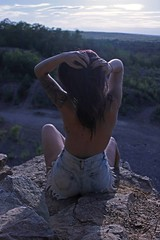 (kelsble) Tags: summer portrait nature hair outside rocks lia tattoos topless piercings quarry bodymods