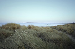 sand dunes (jonathon lynam) Tags: ocean blue ireland sea sky water grass landscape sand waves view wind harbour clear 1855mm wexford rosslare sanddunes tallgrass clearsky irishsea irishlandscape rosslarestrand nikond40 rosslarebeach