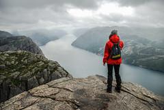 Preikestolen, Norway (Karol Majewski) Tags: cliff water girl norway clouds landscape hiking valley fjord scandinavia dolina woda preikestolen rogaland lysefjord pulpitrock dziewczyna chmury ryfylke krajobraz norwegia wędrówka ściana skandynawia