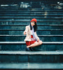 On the stairs (Sài Gòn - 01665 374 974) Tags: portrait art light street city people new lady 35mm dof evening town beauty outdoors day flickr candid asia fuji colorful red