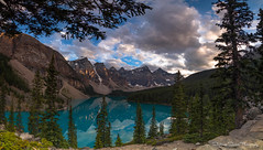 Fairy Tale Land (Stephanie Sinclair) Tags: banff banffnationalpark morainelake panorama trees lake glaciallake mountains canada alberta stephaniesinclairphotography
