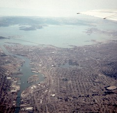 Oakland, California from plane (Stabbur's Master) Tags: viewfromplane california bridge oaklandbaybridge oaklandca oaklandcalifornia 1980s