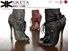 Greta :: Ankle Boots :: 10 Colors ({kokoia}) Tags: kokoia greta mesh slink ouch shoes shoe feet black pack maitreya belleza themeshproject tmp stiletto pumps ankle boots high eve lace