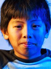 Face Painting Without Paint (Regular Expressions) Tags: blue orange portrait gels