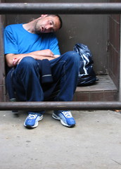 Feeling Blue (djwhelan) Tags: london sleeping blue gap neckpain tccomp006 tccomp themecompetition