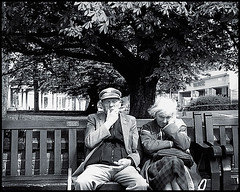 old couple on bench (Marshall24) Tags: street portrait bw candid tritone streetphotography southport oldcouple oap pensioners manandwife oaps abigfave