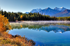 Morning, Herbert Lake (klauslang99) Tags: klauslang nature naturalworld northamerica national banff park alberta canada morning mist brewer lake water rocky mountains