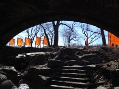 The Gates Through an Archway (epc) Tags: newyorkcity stairs centralpark archway christo jeanclaude thegates christoandjeanclaude gatesmemory gatesofmemory thegatesofmemory