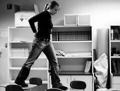 Becky walking on desks (world_of_noise) Tags: pentaxmesuper