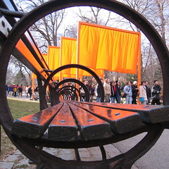 The Gates through Central Park benches (DogFromSPACE) Tags: thegates gates ny nyc manhattan centralpark christo newyork art jeanclaude orange squaredcircle bench perspective pbutton poster gatesmemory
