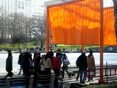 What a day!  Sun, ice, breeze and the Gates! (Marjorie Lipan) Tags: centralpark gates thegates christo people 2005 gatesmemory