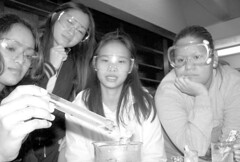 chemistry students (.A.A.) Tags: newmanuniversity chemistry experiment goggles students