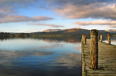 Windermere Jetty (BombDog) Tags: cloud lake reflection topf25 water beautiful sunrise photography topf50 topf75 jetty cumbria serene lakeland tranquil jonlucas jonathanlucas